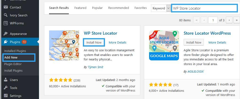 Install WP Store Locator plugin