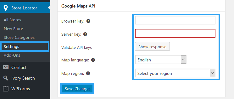 Set Google Maps API