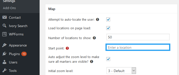 Set A Start Point for the Map