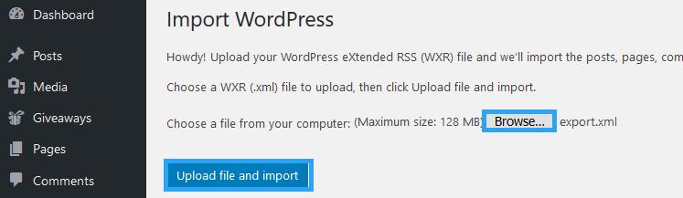 Upload and import Medium