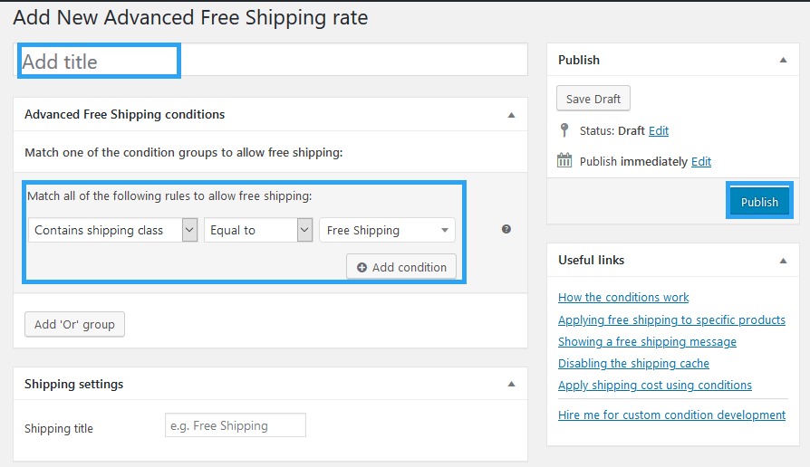 WooCommerce Advanced Free Shipping settings condition