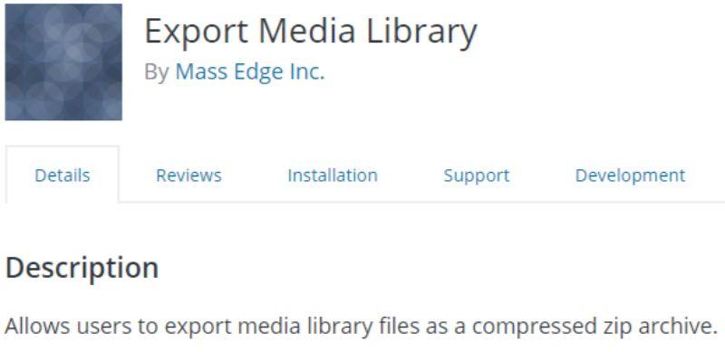 WordPress Export Media Library plugin