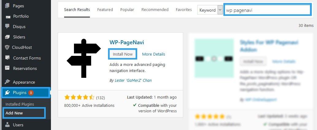 Install WP Pagenavi plugin