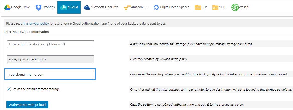 WPvivid pCloud custom folder name