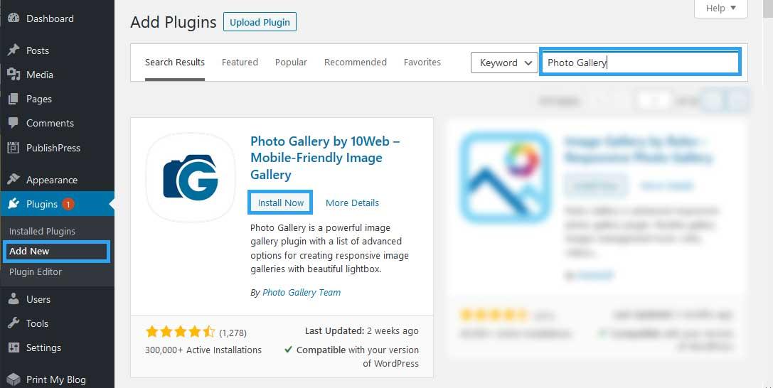 Install Photo Gallery WordPress plugin