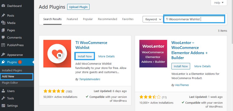 Install Ti WooCommerce Wishlist plugin