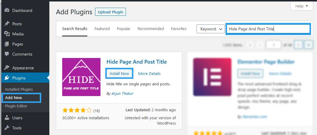Install Hide Page Post Title plugin