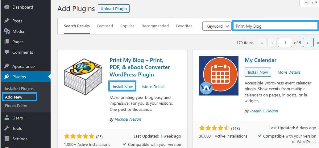 Install Print My Blog plugin
