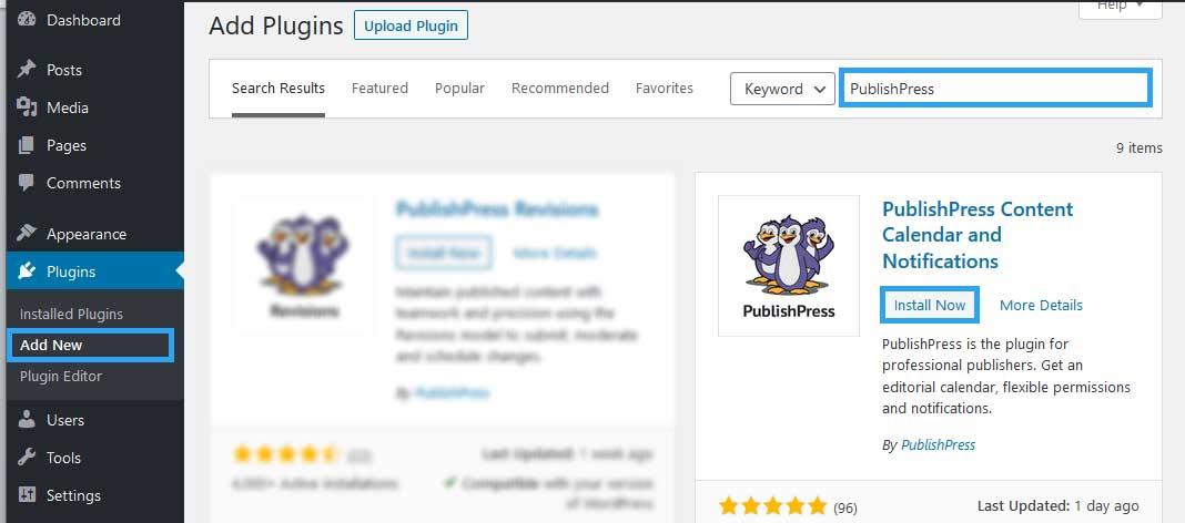 Install Publishpress WordPress plugin