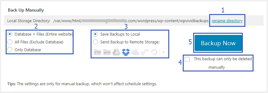 WPvivid Backup Manually