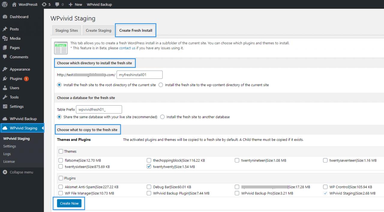 WPvivid Staging Create Fresh Install