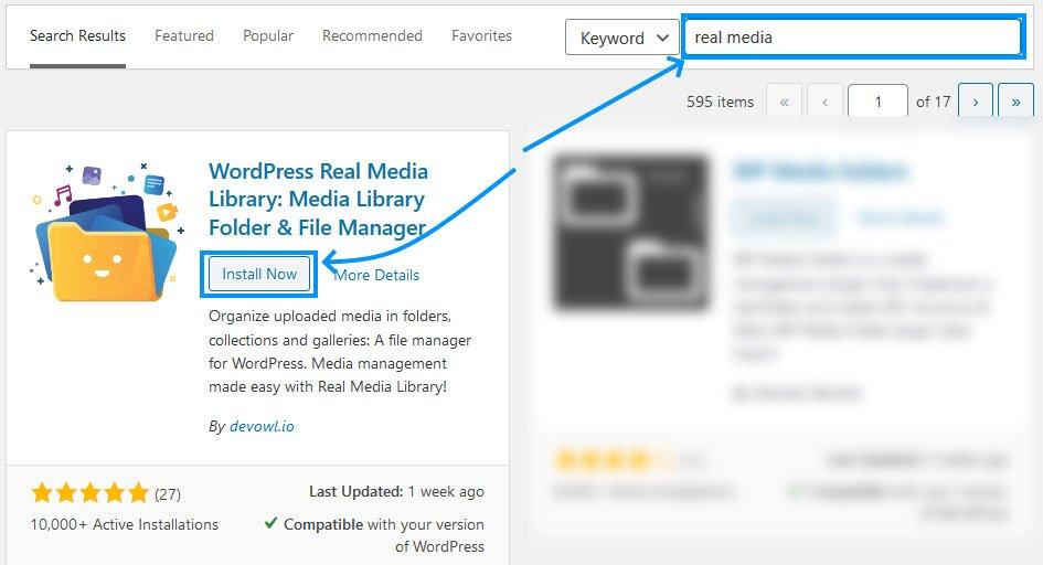 Install WordPress Real Media Library