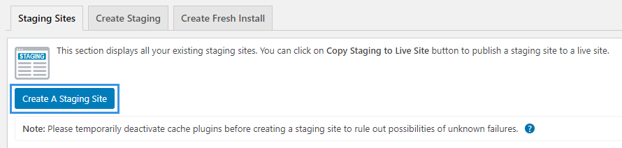 Create Staging Site button