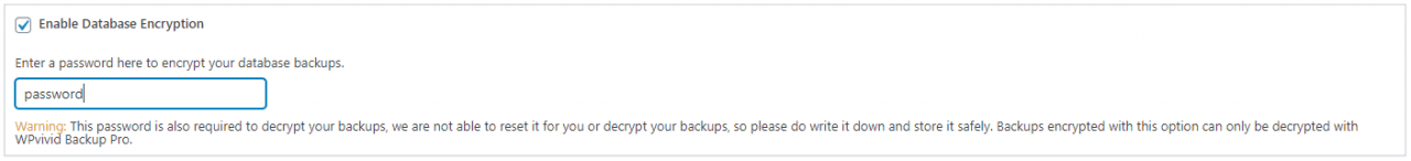 WPvivid Encrypt Database Backups
